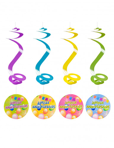 4 Suspensions spirale joyeux anniversaire Fiesta 60 cm
