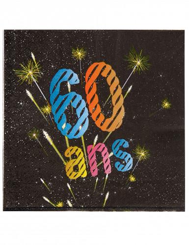 20 Serviettes en papier 60 ans feux d'artifice 33 x 33 cm