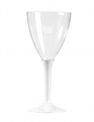 10 Verres à vin plastique blanc