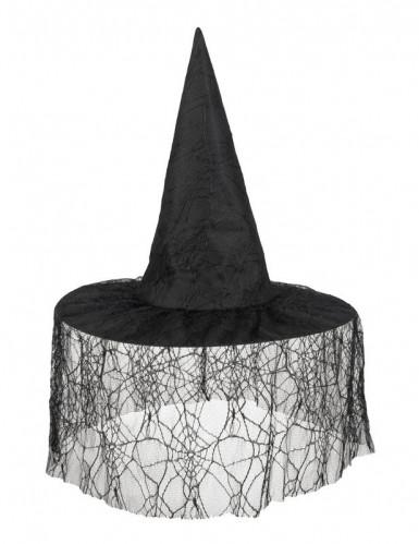 Chapeau sorcière noir avec voile araignée femme Halloween-1
