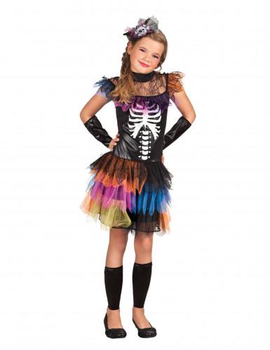 Déguisement squelette tutu coloré fille Halloween