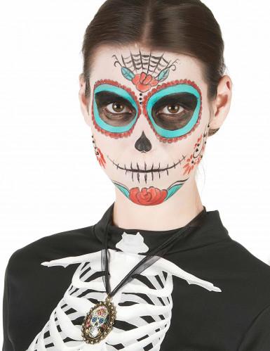 Collier métal squelettte femme Dia de los muertos-1