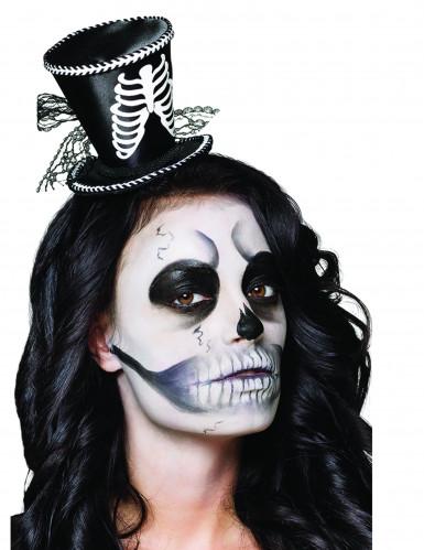 Mini chapeau haut de forme squelette femme Halloween