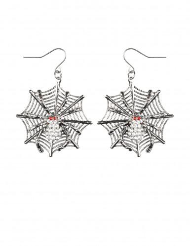 Boucles d'oreilles métal toile d'araignées femme Halloween-1