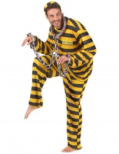 Déguisement de couple prisonnier jaune adulte-1
