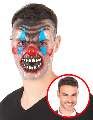 Masque transparent clown effrayant bicolore adulte