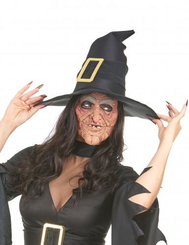Demi masque latex nez et menton sorcière adulte