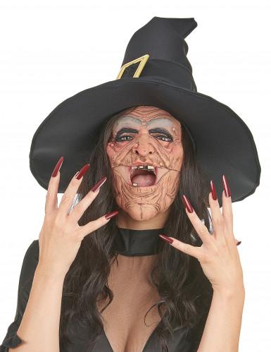 Demi masque latex nez et menton sorcière adulte-1