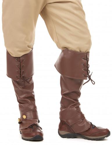 Sur-bottes marron simili cuir lacets et lanière cloutée adulte