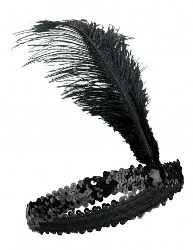 Bandeau Charleston à sequins et plume noir femme