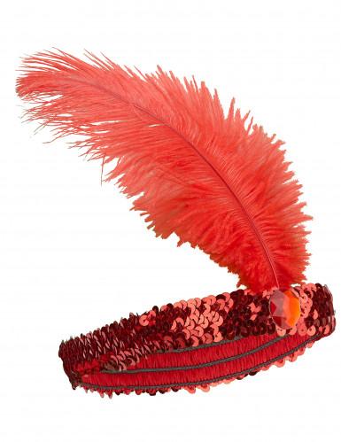 Bandeau Charleston à sequins et plume rouge femme