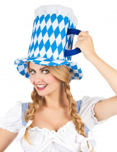 Chapeau pinte de bière en bleu et blanc adulte-1