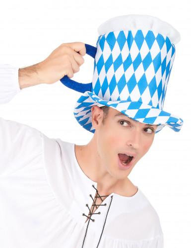 Chapeau pinte de bière en bleu et blanc adulte-2