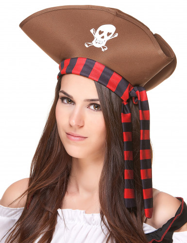 Chapeau de pirate marron adulte-1
