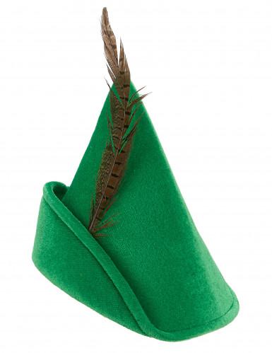 Chapeau homme des bois vert à plume adulte