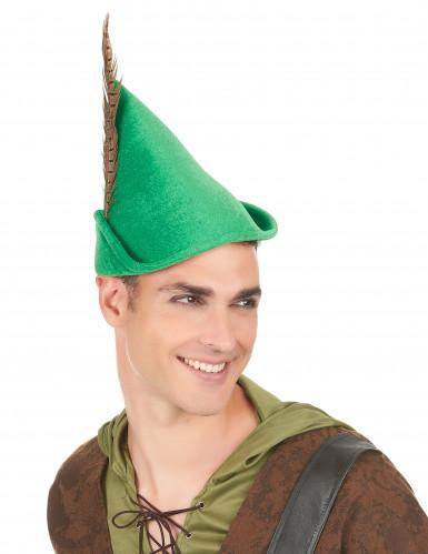 Chapeau homme des bois vert à plume adulte-2