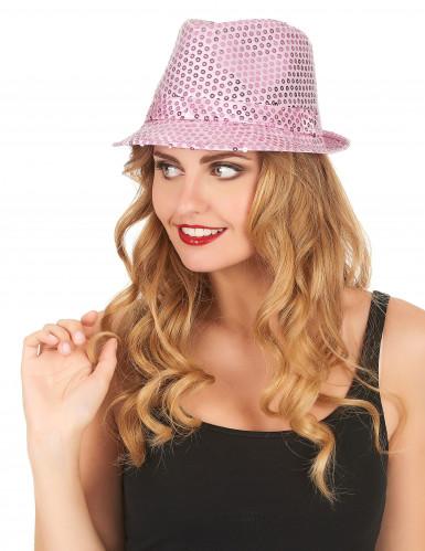 Chapeau borsalino à sequins rose clair adulte-1