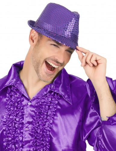 Chapeau borsalino à sequins violet adulte-2
