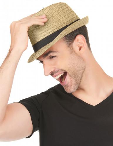 Chapeau borsalino avec bande noire adulte-2