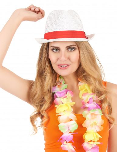Chapeau borsalino blanc avec bande rouge adulte-1