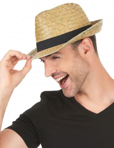 Chapeau borsalino en paille et bande noire adulte-2