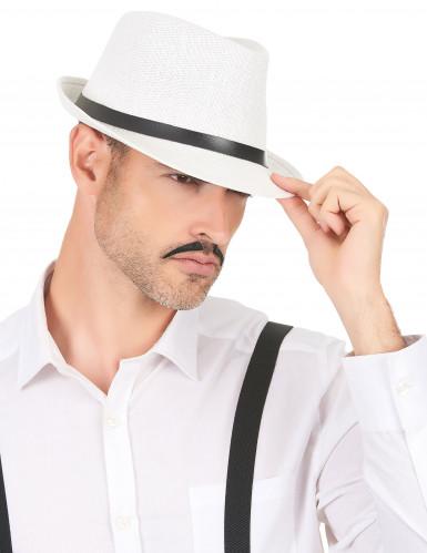 Chapeau borsalino blanc luxe avec boucle adulte-2