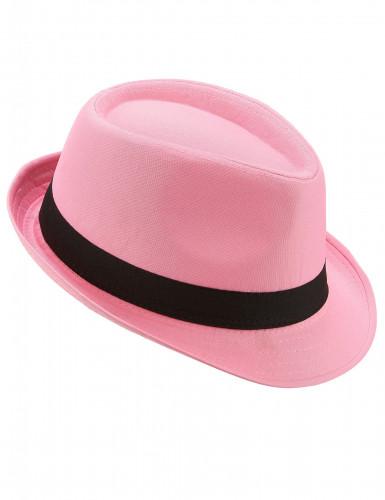 Chapeau borsalino pink luxe bande noire adulte