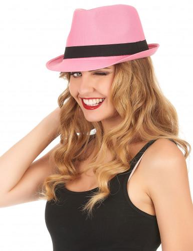 Chapeau borsalino pink luxe bande noire adulte-1