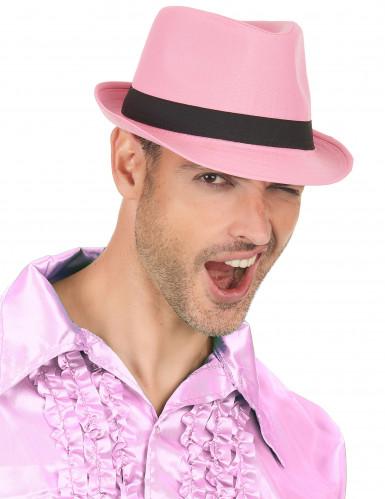 Chapeau borsalino pink luxe bande noire adulte-2