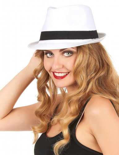 Chapeau borsalino blanc bande noire adulte-1