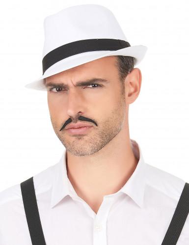 Chapeau borsalino blanc bande noire adulte-2