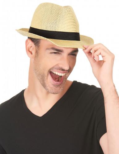 Chapeau borsalino écru bande noire adulte-2