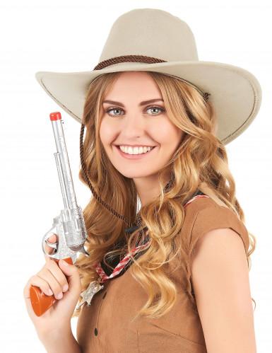 Chapeau cowboy luxe beige en suede adulte-1