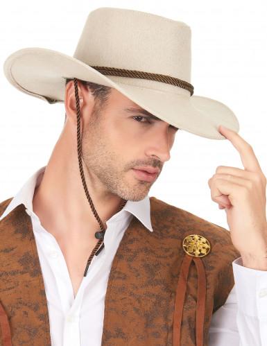 Chapeau cowboy luxe beige en suede adulte-2