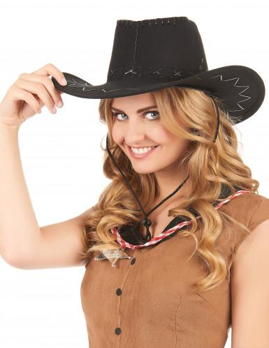 Chapeau cowboy noir en suedine adulte-1