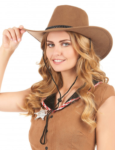 Chapeau cowboy luxe marron en suede adulte-1