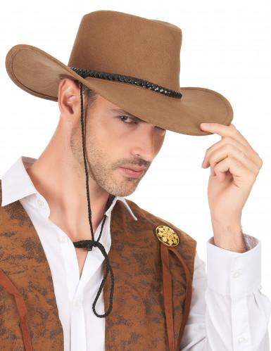 Chapeau cowboy luxe marron en suede adulte-2