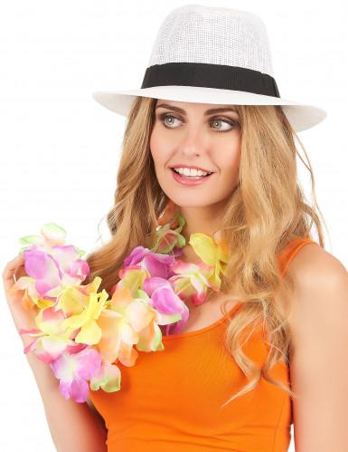 Chapeau Panama blanc avec bande noire adulte-1