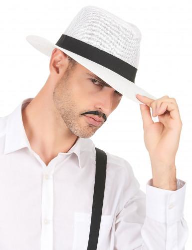 Chapeau Panama blanc avec bande noire adulte-2