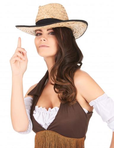 Chapeau Cowboy avec bande et rebord noirs adulte-2