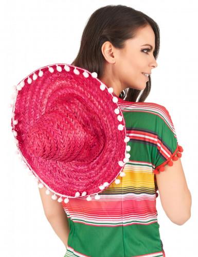Sombrero rose à bordure pompons adulte-2