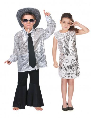 Déguisement de couple disco argent enfants