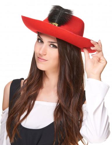 Chapeau mousquetaire rouge bande et plume noires adulte-1