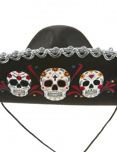 Sombrero noir Dia de Los Muertos finitions argentées adulte-1