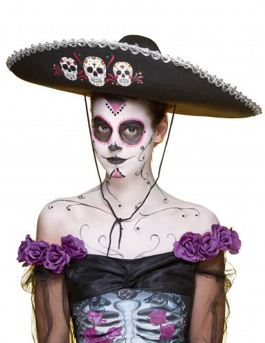 Sombrero noir Dia de Los Muertos finitions argentées adulte-3