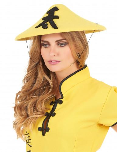 Chapeau chinois jaune adulte-2