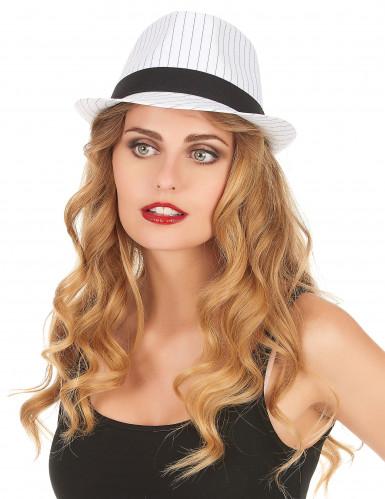 Chapeau borsalino blanc à rayures noires-1