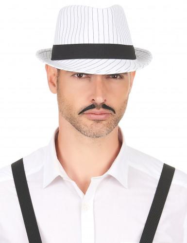 Chapeau borsalino blanc à rayures noires-2