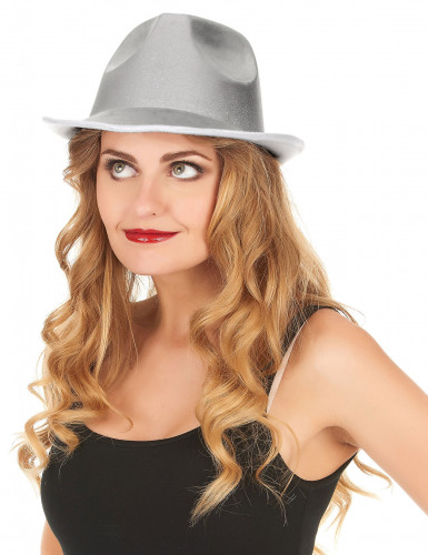 Chapeau borsalino argenté adulte-1