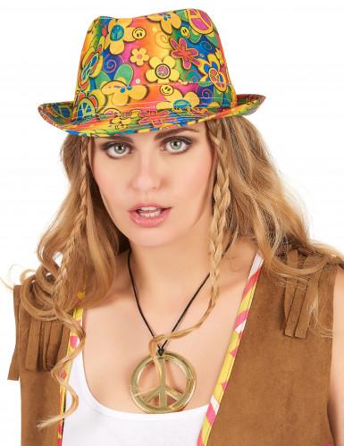 Chapeau borsalino hippie à fleurs adulte-1